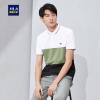 HLA/海澜之家条纹拼接短袖POLO2019夏季新品半开襟清新POLO男