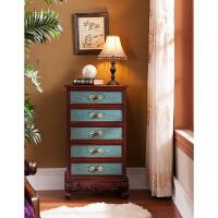 美式五斗柜地中海床头柜中式玄关柜实木收纳柜抽屉式整理柜子雕花 绘花 整装