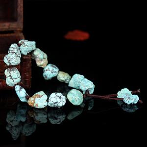 原矿绿松石原石手串 直径12mm