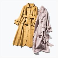 II 女神气场 18年早春新品 麂皮绒 提花 中长款风衣 女 F712A012