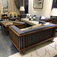 新中式沙发 现代全实木家具 样板房胡桃色沙发禅意中国风 颜色咨询客服