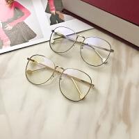网红达人街拍大脸显瘦眼镜框女复古金属圆平光眼镜可配