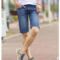 男士牛仔裤修 身直筒五分裤夏 天青少年 男装沙滩裤子潮