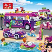 【小颗粒邦宝益智拼插媚力沙滩女孩积木玩具礼物欢乐旅途6137