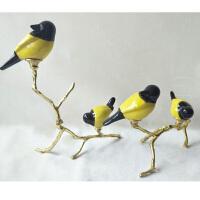 新中式装饰摆件现代铜鸟装饰品样板房酒店玄关软装会所工艺品摆设