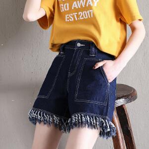 Freefeel2018夏季牛仔短裤女装新款毛边大方兜修身显瘦透气热裤