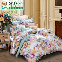 富安娜家纺 圣之花床上用品4件套纯棉 1.5m床单被套1.8m四件套恋恋心曲