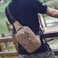 男士胸包单肩斜挎包旅行包背包多功能帆布包两用复古包