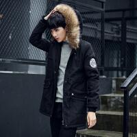 冬季男士连帽棉衣中长款大毛领加绒加厚棉服韩版修身纯色外套