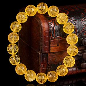 金珀回纹珠圆珠手串 直径10.5mm 重量12.28g