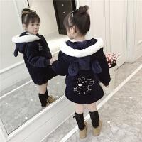 女童外套童装女棉袄中长款洋气2017新款金丝绒棉衣儿童羽绒 藏青色 兔耳朵卡通棉衣