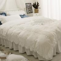 水晶绒床裙式四件套床罩公主风蕾丝边加厚保暖珊瑚法兰绒