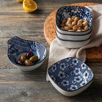 [当当自营]奇居良品 日式和风创意厨房餐具青花纹陶瓷小餐碗小食碟沙拉碟 落花四方餐碗
