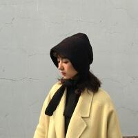 粉色护耳毛线帽子女秋冬保暖系带包头针织帽帽韩国复古网红帽 M(56-58cm)