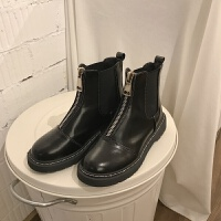 鞋子女英伦风短靴皮面粗跟套脚短筒切尔西靴学院风学生马丁靴女潮 黑色