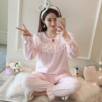 韩版珊瑚绒睡衣女冬季甜美可爱公主风加厚法兰绒保暖家居服套装秋 粉红色 01款
