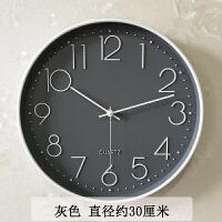 钟表挂钟客厅现代简约大气创意时尚个性圆形静音家用卧室石英钟 灰色 【进口机芯】 12英寸