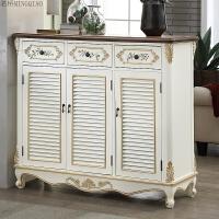 美式鞋柜现代简约门厅柜实木经济型多功能简易欧式家用门口玄关柜 整装
