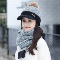 女士甜美可爱围巾帽子两件套 韩版百搭潮针织帽户外加绒保暖毛线帽双层帽子女