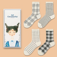 四季款纯棉女袜 女士中筒袜短袜船袜隐形袜 礼盒装女袜子 中筒袜组合 624 均码