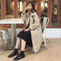 秋冬新款韩版宽松显瘦毛呢大衣中长款翻领学生加厚呢子外套女