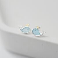 创意可爱蓝色滴釉喷水S925纯银耳钉日系少女感甜美女款耳饰品学生