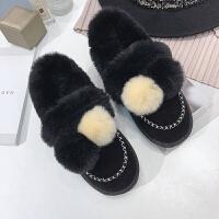 毛毛鞋女秋冬2018韩版新款平底学生兔毛毛鞋雪地靴女加绒保暖棉鞋