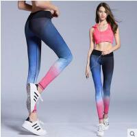 户外小脚显瘦休闲速干透气高弹力运动紧身长裤渐变健身服瑜伽裤女跑步