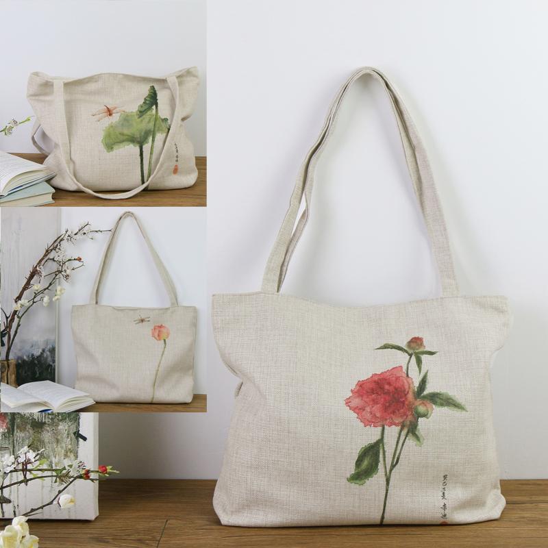 【包邮】 原创创意国画艺术衍生品 文创 绘画 棉麻挎包 朱迪天然环保棉麻制品,耐磨舒适,具文艺气息。