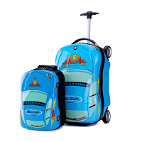 儿童拉杆箱男孩18寸卡通旅行箱宝宝汽车行李箱可坐可骑皮箱拖拉箱 13寸 18寸 蓝色汽车