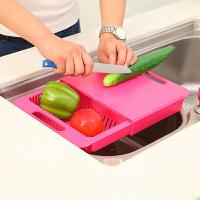 可滑动厨房沥水二合一切菜板置物架可滑动厨房二合一水槽切菜板砧板案板蔬果沥水菜盘水槽置物架 一只装