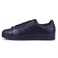 adidas/阿迪达斯 三叶草男鞋Superstar贝壳头全黑低帮运动休闲板鞋AF5666