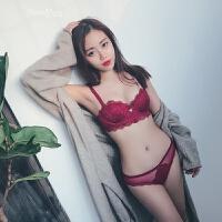 性感红色内衣女中模杯小胸显大调整型胸罩聚拢半杯文胸