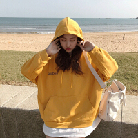 卫衣 女士连帽字母印花长袖卫衣2020年秋季新款韩版时尚潮流女式宽松休闲女装假两件套