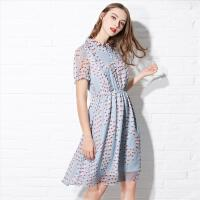 欧莎女装夏季 可爱桃心印花泡泡袖连衣裙