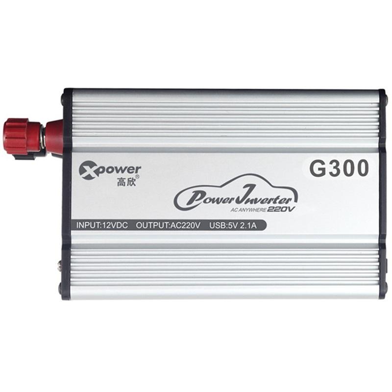 高欣车载逆变器12V转220V电源转换器G300 功率400W+USB 2.1A车充峰值可达600W 户外旅行 家用电器 电源保障