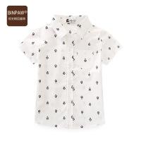 【79元3件】binpaw男童短袖衬衫 2019夏新款韩版休闲款满印卡通图案短袖衬衫
