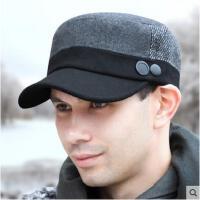 冬季平顶帽美版毛呢冬天帽子男时尚冬加厚保暖韩版潮棉帽