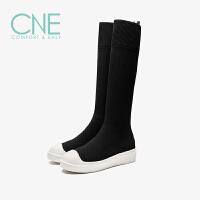 CNE2019秋冬款圆头平底休闲瘦瘦靴及膝长靴弹力女袜靴9T21501