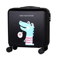 拉杆箱18寸小型迷你行李箱登机箱女16寸旅行箱万向轮男密码皮箱子 尊贵黑 爱心龙(拉丝) 18寸