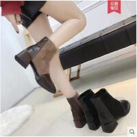 短靴女冬季新款方头裸靴女韩版百搭学生瘦瘦靴粗跟中跟网红靴