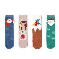 宝宝圣诞礼盒袜加厚毛圈保暖婴儿纯棉袜子无线头中筒男女童松口袜
