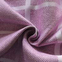 窗帘成品格子简约现代遮光飘窗卧室清新粉色客厅落地窗棉麻风布料