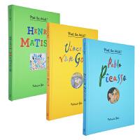 伟大的艺术家3册 纸上美术馆立体翻翻书 英文原版 Pablo Picasso毕加索 梵高艺术名人科普