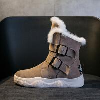 真皮雪地靴女短筒冬季加�q加厚保暖防滑搭扣面包棉鞋�W生2018新款