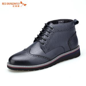 红蜻蜓秋冬男靴牛皮短靴商务皮鞋男鞋休闲皮靴英伦男士真皮高帮