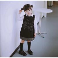 17秋女童装宝宝闪闪亮丝提花小螃蟹针织毛线背心裙连衣裙毛衣裙