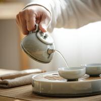 【家装节 夏季狂欢】日式烟灰简约茶壶茶具套装 家用禅意功夫陶瓷茶杯小号茶盘 烟灰简约茶具套装