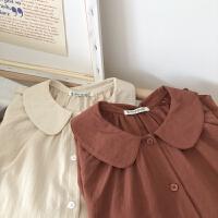复古文艺娃娃领 棉麻质地系扣棉质长袖衬衫秋款女