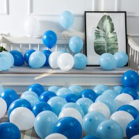 气球批�l儿童周岁生日派对装饰婚庆结婚用品婚房婚礼布置100个装家居日用家装软饰节庆饰品 白色 浅蓝 深蓝(100个装)